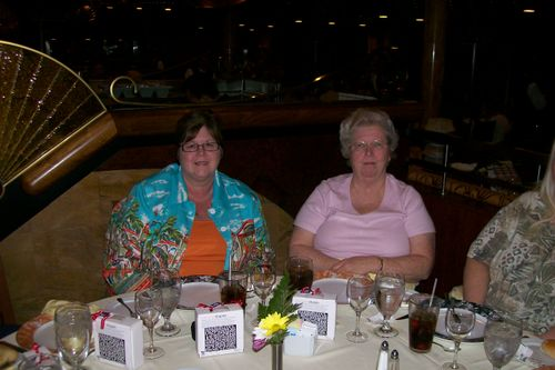 Karen and Nelda at dinner