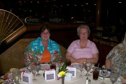 Karen and Nelda at dinner