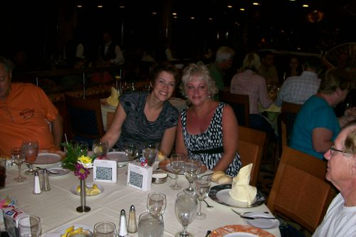 Kezia and Sue at dinner